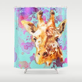 Giraffe Paintng, Nursery Wall Art, Watercolor, Zoo Animal, Love Giraffes, Gift Idea, Splatter Paint Shower Curtain