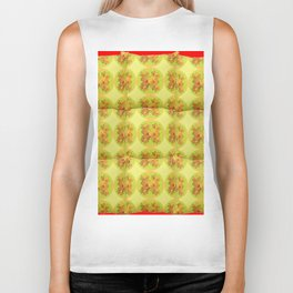 Quilted Style Lime Green Art Yellow Daffodils  Pattern Biker Tank