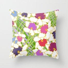 White Daffodil Rain Throw Pillow
