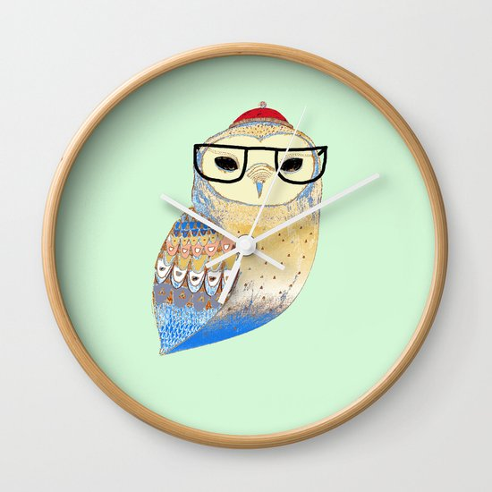 hipster owl Wall Clock