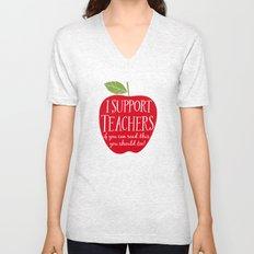 I Support Teachers (apple) Unisex V-Neck
