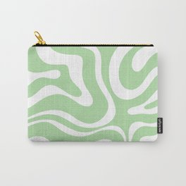 Modern Retro Liquid Swirl Abstract Pattern in Light Matcha Tea Green and White Carry-All Pouch