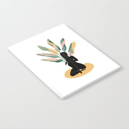 Girl black silhouette with banana leaves Notebook