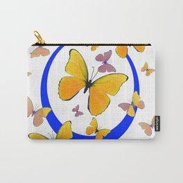 YELLOW BUTTERFLIES & BLUE RING MODERN ART Carry-All Pouch