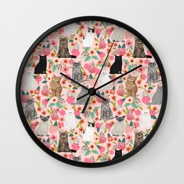 Cat floral mixed breeds of cats gifts for pet lovers cat ladies florals Wall Clock