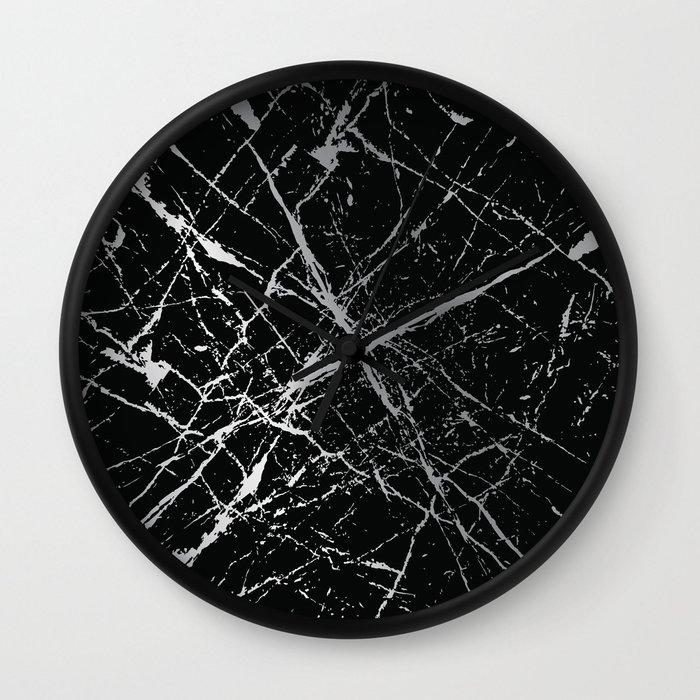 Silver Splatter 090 Wall Clock