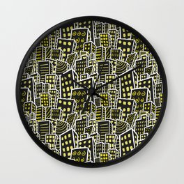City Skylines - dark, lights on - cute seamless pattern Wall Clock