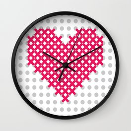 embroidered cross on canvas heart Wall Clock