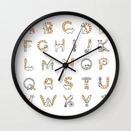 Circus cat alphabet Wall Clock