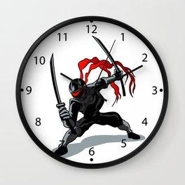 cartoon ninja in action Wall Clock