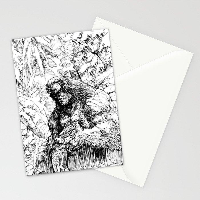 SASQUATCH EATING SALMON Stationery Cards