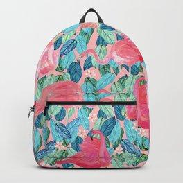 Tropical Flamingo watercolor Backpack