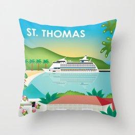 St. Thomas, U.S. Virgin Islands - Skyline Illustration by Loose Petals Throw Pillow