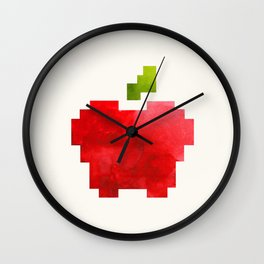 Red Macintosh Apple Watercolor Painting Pixel Digital Art Geometric Fruit Vector Wall Clock