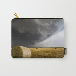 Spinning Gold - Storm Over Hay Bales in Kansas Field Carry-All Pouch