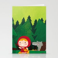 red riding hood Stationery Cards featuring Little Red Riding Hood by parisian samurai studio
