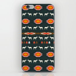 Ethnic deer pattern with Christmas trees iPhone Skin