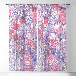 Floral Jungle Purple Sheer Curtain