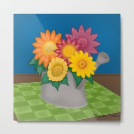 Flowers in a Watering Can Metal Print