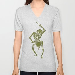 A Zombie Undead Skeleton Marching and Beating A Drum Unisex V-Neck