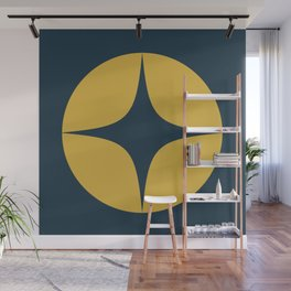 Atomic Age Neutra Single - Midcentury Modern Minimalism in Light Mustard Yellow and Navy Blue Wall Mural