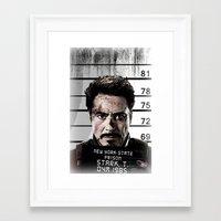 tony stark Framed Art Prints featuring Tony Stark jailed by MkY111