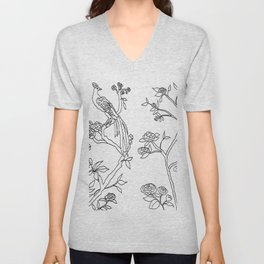 Color Your Own Chinoiserie Panels 4-5 Contour Lines - Casart Scenoiserie Collection Unisex V-Neck