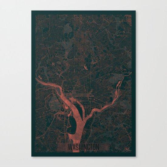 Washington Map Red Canvas Print
