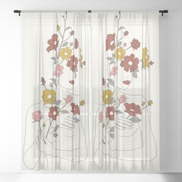 Colorful Thoughts Minimal Line Art Woman with Wild Roses Sheer Curtain