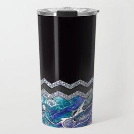 BLUE OCEAN MINIMAL LIQUID PAINTING Travel Mug