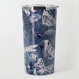Dragonflies, Butterflies and Moths With Plants on Navy Travel Mug