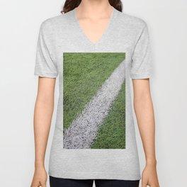 Sideline football field, Sideline chalk mark artificial grass soccer field Unisex V-Neck