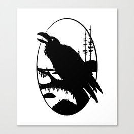 Raven Silhouette IV Canvas Print