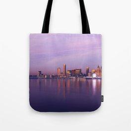 Liverpool Port Night Lights Sunset Panorama United Kingdom Tote Bag