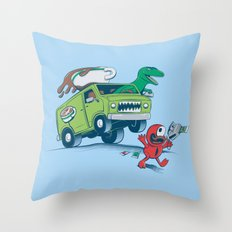 DinoLatte Run Down Throw Pillow