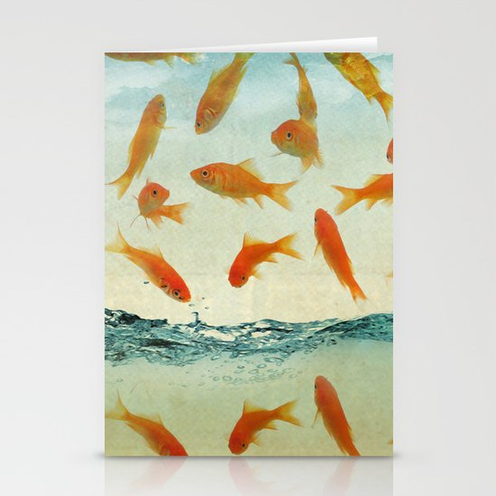 raining gold fish Stationery Cards