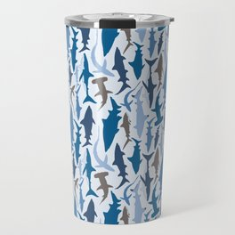 Swimming with Sharks in Blue and Grey Travel Mug
