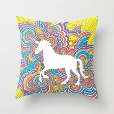 Unicorn Drawing Meditation (color) Throw Pillow