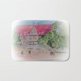 Rathaus der Stadt Bobingen Aquarell Bath Mat