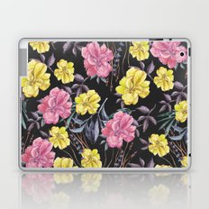 Modern botanical black pink yellow watercolor floral Laptop & iPad Skin