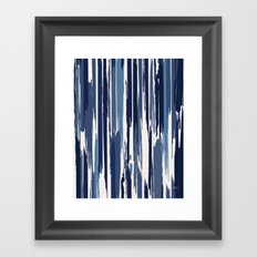 Painted Stripe Indigo Framed Art Print