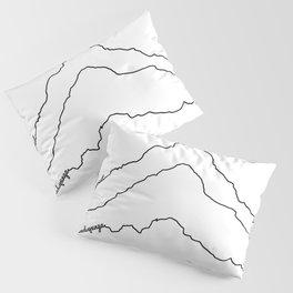 Tallest Mountains in the World B&W / Mt Everest K2 Kanchenjunga / Minimalist Line Drawing Art Print Pillow Sham