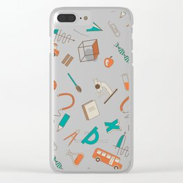 Colorful school pattern Clear iPhone Case