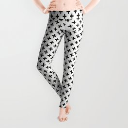 Criss Cross | Plus Sign | Black and White Leggings