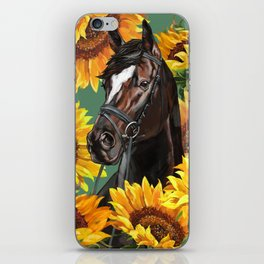 Horse with Sunflowers iPhone Skin