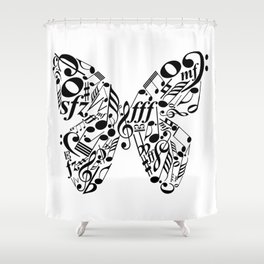 Music butterfly Shower Curtain