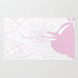 White on Pink Dublin Street Map Rug