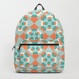 Simple geometric boat helm in mint and orange Backpack