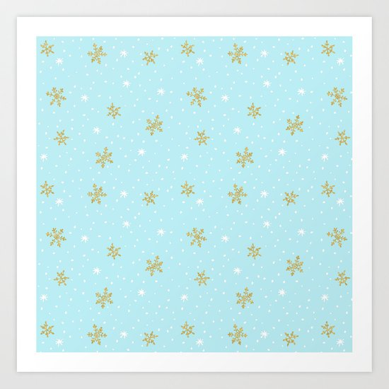 Merry christmas- abstract winter pattern with white & gold Snowflakes Art Print