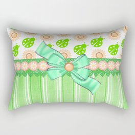 Green Ladybugs and Daisies Rectangular Pillow